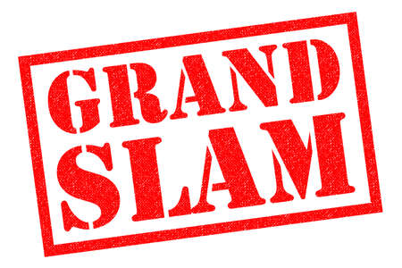 GRAND SLAM red Rubber Stamp over a white background.