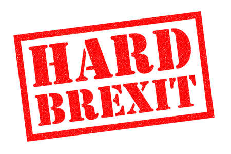 HARD BREXIT red Rubber Stamp over a white background. Stock Photo