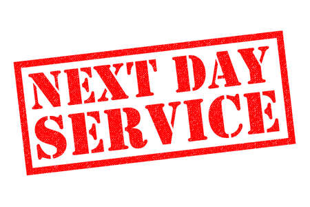 NEXT DAY SERVICE red Rubber Stamp over a white background.