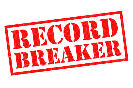 record breaking: RECORD BREAKER red Rubber Stamp over a white background.