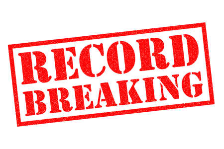 RECORD BREAKING red Rubber Stamp over a white background.