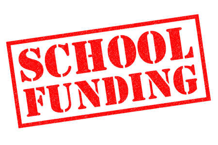 SCHOOL FUNDING red Rubber Stamp over a white background.