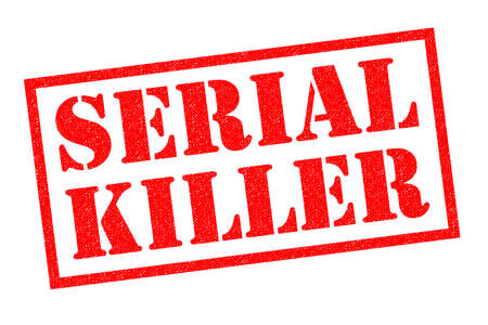 convicted: SERIAL KILLER red Rubber Stamp over a white background.