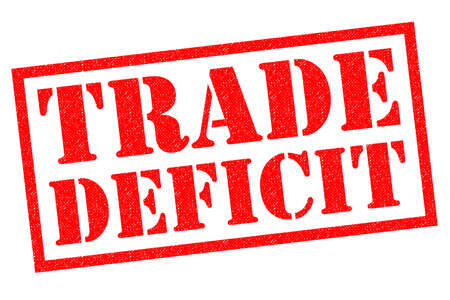 TRADE DEFICIT red Rubber Stamp over a white background.