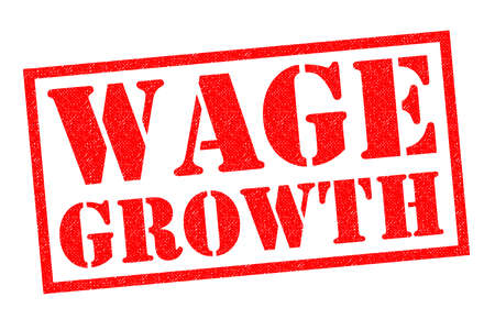 WAGE GROWTH red Rubber Stamp over a white background. Stock Photo
