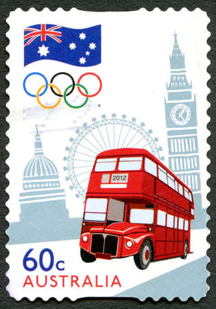 AUSTRALIA - CIRCA 2012: A used postage stamp from Australia, commemorating the London 2012 Summer Olympic Games, circa 2012.