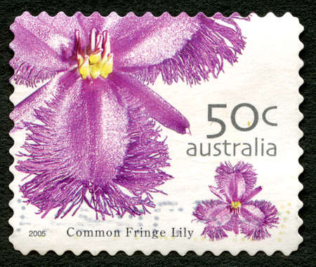 AUSTRALIA - CIRCA 2005: A used postage stamp from Australia, depicting an image of a Common Fringe Lily, circa 2005.