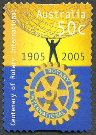 AUSTRALIA - CIRCA 2005: A used postage stamp from Australia, celebrating the centenary of Rotary International, circa 2005. Editorial