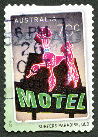 AUSTRALIA - CIRCA 2015: A used postage stamp from Australia, celebrating the Surfers Paradise suburb located in the area of City of Gold Coast in Queensland, circa 2015.
