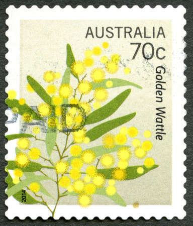 AUSTRALIA - CIRCA 2014: A used postage stamp from Australia, depicting an illustration of the flowering plants from the Golden Wattle tree, circa 2014. Editorial