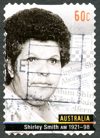 AUSTRALIA - CIRCA 2013: A used postage stamp from Australia, depicting a portrait of Shirley Smith, also known as Mum Shirl, a social reformer and humanitarian, circa 2013.