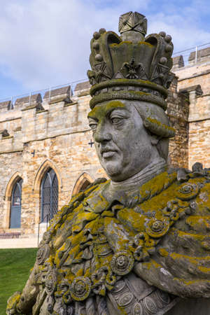 A statue or bust of King George III, in the grounds of the historic Lincoln Castle in the city of Lincoln, UK.