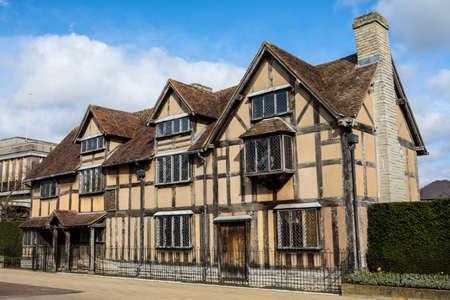Een weergave van de geboorteplaats van de beroemde toneelschrijver en dichter William Shakespeare in Stratford-Upon-Avon, in het Verenigd Koninkrijk. Stockfoto - 75961575