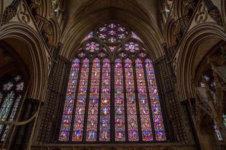 LINCOLN, UK - FEBRUARY 27TH 2017: The magnificent East Window of Lincoln Catheral in the historic city of Lincoln, UK, on 27th February 2017. Editorial