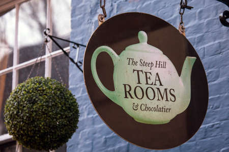 LINCOLN, UK - FEBRUARY 28TH 2017: A sign for The Steep Hill Tea Rooms and Chocolatier in the historic city of Lincoln, in the UK, on 28th February 2017. Editorial