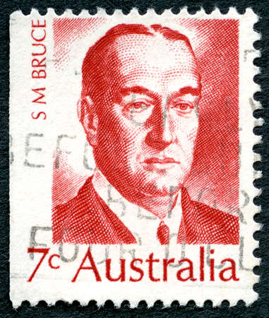 parliamentarian: AUSTRALIA - CIRCA 1972: A used postage stamp from Australia, depicting a portrait of Stanley Bruce - former Prime Minister of Australia, circa 1972.