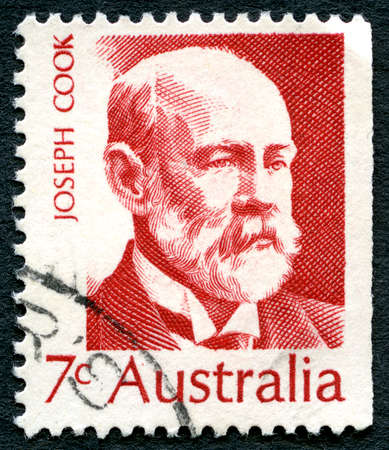 parliamentarian: AUSTRALIA - CIRCA 1971: A used postage stamp from Australia, depicting a portrait of Joseph Cook - politician and sixth Prime Minister of Australia, circa 1971.