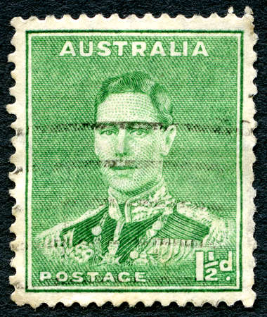 AUSTRALIA - CIRCA 1937: A used postage stamp from Australia, depicting a portrait of King George VI, circa 1937.
