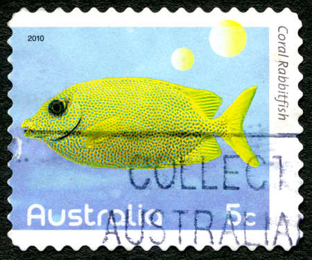 AUSTRALIA - CIRCA 2010: A used postage stamp from Australia, depicting an image of a Coral Rabbitfish, circa 2010.