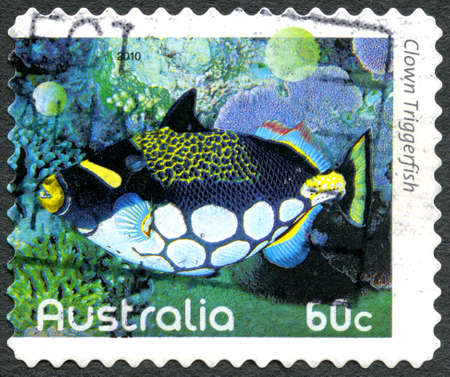 triggerfish: AUSTRALIA - CIRCA 2010: A used postage stamp from Australia, depicting an image of a Clown Triggerfish, circa 2010.