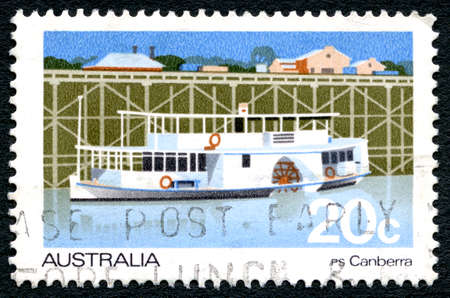 AUSTRALIA - CIRCA 1979: A used postage stamp from Australia, depicting an illustration of the PS Canberra Passenger Paddlesteamer, circa 1979.