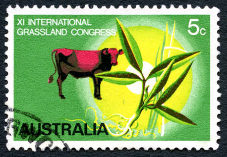 AUSTRALIA - CIRCA 1970: A used postage stamp from Australia, celebrating the eleventh International Grassland Congress, circa 1970. Editöryel