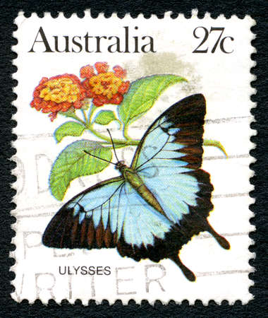 philately: AUSTRALIA - CIRCA 1983: A used postage stamp from Australia, depicting an illustration of the Ulysses Butterfly, circa 1983. Editorial