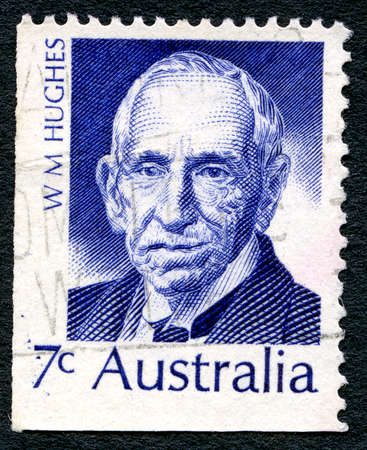 morris: AUSTRALIA - CIRCA 1972: A used postage stamp from Australia, depicting a portrait of politician and seventh Prime Minister of Australia Billy Hughes, circa 1972.