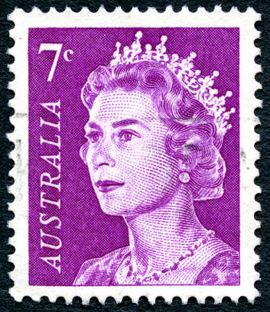 philately: AUSTRALIA - CIRCA 1971: A used postage stamp from Australia, depicting a portrait of Queen Elizabeth II, circa 1971.