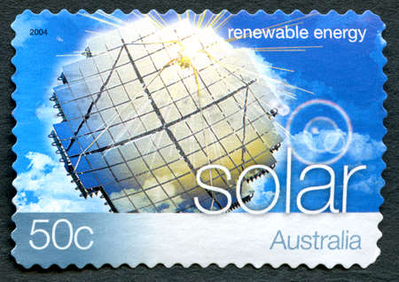 AUSTRALIA - CIRCA 2004: A used postage stamp from Australia, promoting Solar Energy - a renewable energy source, circa 2004.