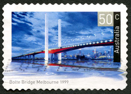 AUSTRALIA - CIRCA 2004: A used postage stamp from Australia, depicting an image of Bolte Bridge in Melbourne, Australia, circa 2004.