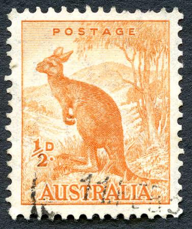 AUSTRALIA - CIRCA 1942: A used postage stamp from Australia, depicting an illustration of a Kangaroo, circa 1942.