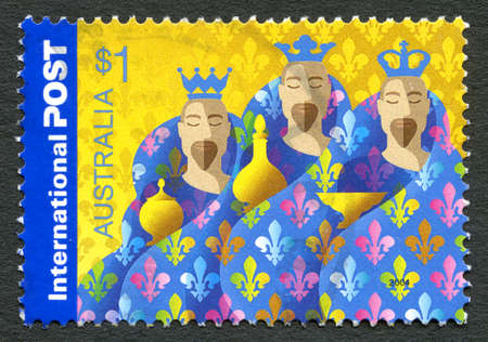 philately: AUSTRALIA - CIRCA 2004: A used postage stamp from Australia, depicting an illustration of the Three Wise Men in the story of the Nativity, circa 2004.