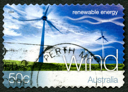 AUSTRALIA - CIRCA 2004: A used postage stamp from Australia, promoting Wind Energy - a renewable energy source, circa 2004.