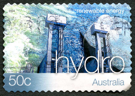 AUSTRALIA - CIRCA 2004: A used postage stamp from Australia, promoting Hydro Energy - a renewable energy source, circa 2004.