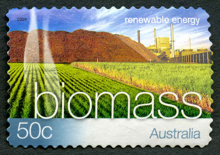 AUSTRALIA - CIRCA 2004: A used postage stamp from Australia, promoting Biomass Energy - a renewable energy source, circa 2004. Editorial