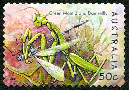 AUSTRALIA - CIRCA 2003: A used postage stamp from Australia, depicting an illustration of a Green Mantid catching a Damselfly, circa 2003. Editorial
