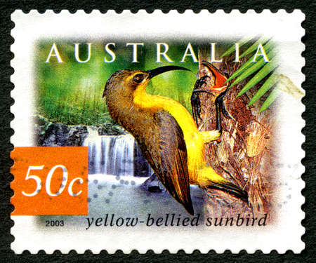 AUSTRALIA - CIRCA 2003: A used postage stamp from Australia, depicting an illustration of a Yellow Bellied Sunbird, circa 2003. Editorial