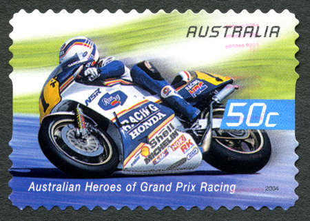 philately: AUSTRALIA - CIRCA 2004: A used postage stamp from Australia celebrating Australian Heroes of Grand Prix Racing, with an image of Wayne Gardner, circa 2004.