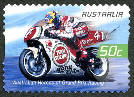 AUSTRALIA - CIRCA 2004: A used postage stamp from Australia celebrating Australian Heroes of Grand Prix Racing, with an image of Daryl Beattie, circa 2004.