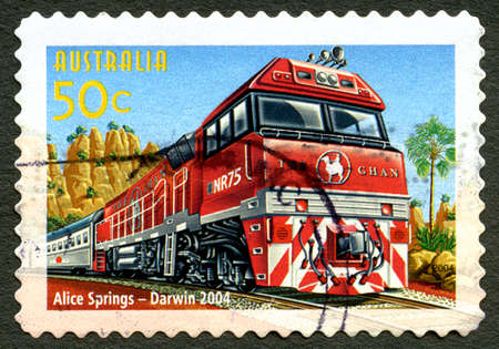 AUSTRALIA - CIRCA 2004: A used postage stamp from Austraia, celebrating The Ghan Passenger Train Service between Alice Springs and Darwin, circa 2004.