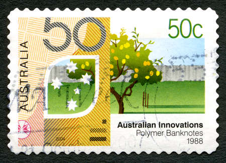 AUSTRALIA - CIRCA 2004: A used postage stamp from Australia, celebrating Australian Innovations - this one commemorating Polymer Banknotes, circa 2004.