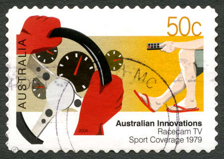 AUSTRALIA - CIRCA 2004: A used postage stamp from Australia, celebrating Australian Innovations - this one commemorating Racecam TV Sports Coverage, circa 2004.