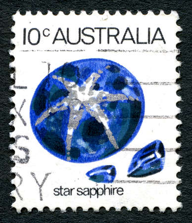 AUSTRALIA - CIRCA 1973: A used postage stamp from Australia, depicting an illustration of a Star Sapphire gemstone, circa 1973. Editorial