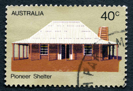 pioneering: AUSTRALIA - CIRCA 1972: A used postage stamp from Australia, depicting an image of a shelter used by a Pioneer ancestor, circa 1972. Editorial