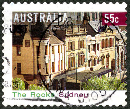 philately: AUSTRALIA - CIRCA 2008: A used postage stamp from Australia, depicting an image of The Rocks in Sydney, circa 2008.