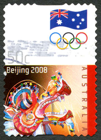 chinese postage stamp: AUSTRALIA - CIRCA 2008: A used postage stamp from Australia, commemorating the 2008 Summer Olympic Games held in Beijing, circa 2008. Editorial