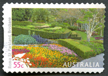 AUSTRALIA - CIRCA 2009: A used postage stamp from Australia, depicting an image of Roma Street Parkland in Brisbane, circa 2009.