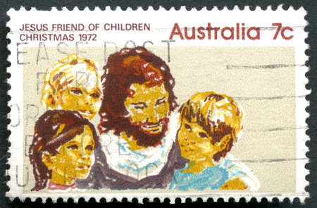 philately: AUSTRALIA - CIRCA 1972: A used postage stamp from Australia, portraying an illustration and caption Jesus Friend of Children - commemorating Christmas, circa 1972. Editorial