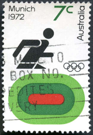 AUSTRALIA - CIRCA 1972: A used postage stamp from Australia, commemorating the Munich Olympic Games, circa 1972.